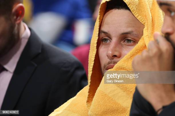 Stephen Curry of the Golden State Warriors looks on during the game against the Cleveland Cavaliers on January 15 2018 at Quicken Loans Arena in...