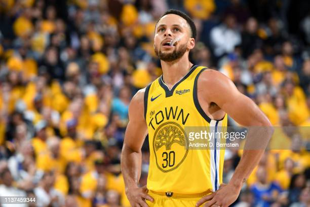 Stephen Curry of the Golden State Warriors looks on in Game Two of Round One against the LA Clippers during the 2019 NBA Playoffs on April 15 2019 at...