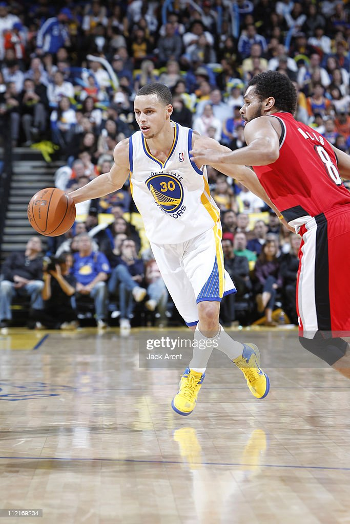 Stephen Curry #30 of the Golden State Warriors looks to drive to the basket against the Portland Trail Blazers on April 13, 2011 at Oracle Arena in Oakland, California.