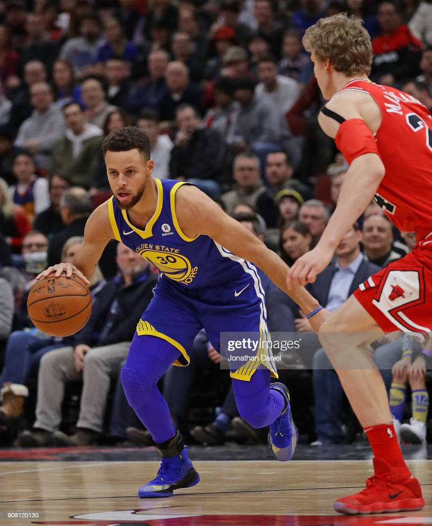 Stephen Curry Of The Golden State Warriors Moves Against