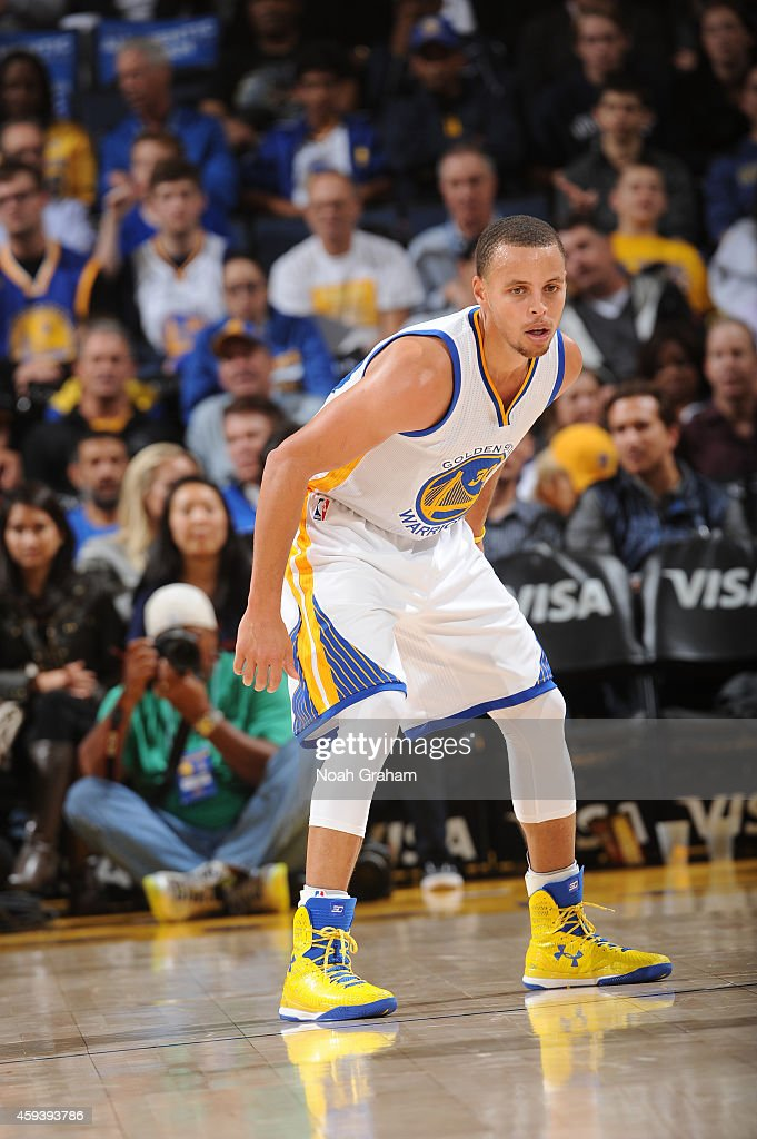 Stephen Curry #30 of the Golden State Warriors on defense against the Utah Jazz on November 21, 2014 at Oracle Arena in Oakland, California.