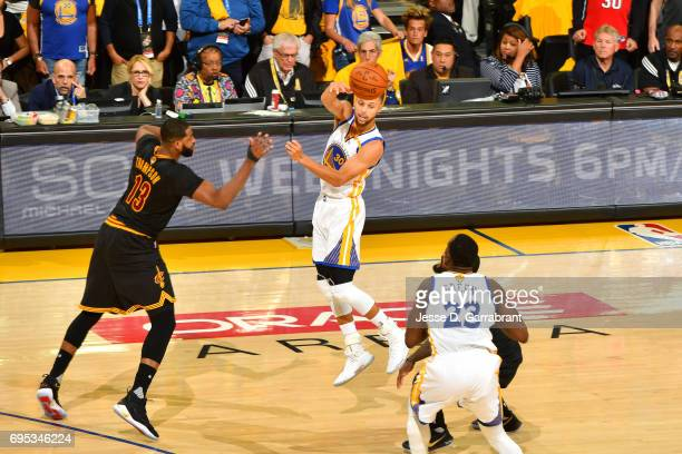 Stephen Curry of the Golden State Warriors passes the ball during the game against the Cleveland Cavaliers in Game Five of the 2017 NBA Finals on...