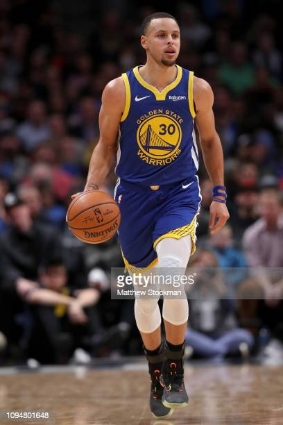 Stephen Curry of the Golden State Warriors plays the Denver Nuggets at the Pepsi Center on January 15 2019 in Denver Colorado NOTE TO USER User...