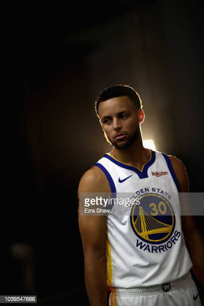 Stephen Curry of the Golden State Warriors poses for a picture during the Golden State Warriors media day on September 24 2018 in Oakland California