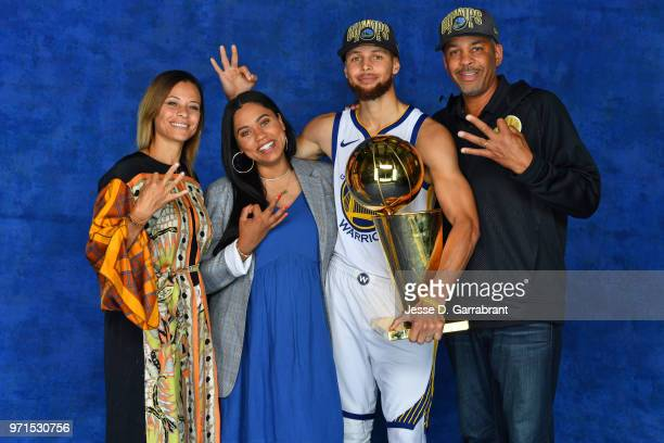 Stephen Curry of the Golden State Warriors poses for a portrait with his family Sonya Curry Ayesha Curry and Dell Curry with the Larry O'Brien Trophy...