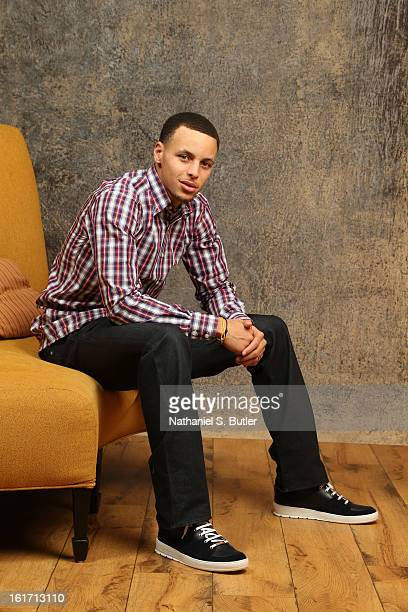 Stephen Curry of the Golden State Warriors poses for portraits during the NBAE Circuit as part of 2013 AllStar Weekend at the Hilton Americas Hotel...