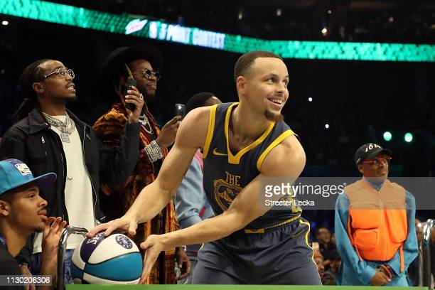 Stephen Curry of the Golden State Warriors prepares to shoot during the MTN DEW 3Point Contest as part of the 2019 NBA AllStar Weekend at Spectrum...