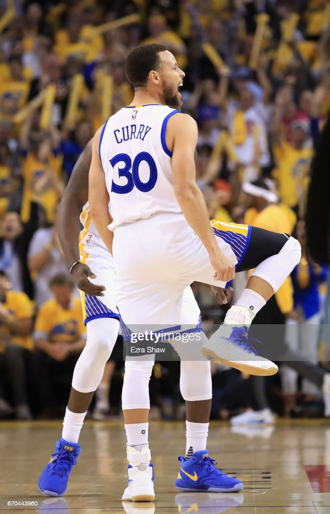 Stephen Curry #30 of the Golden State Warriors reacts after making a three-point basket during their game against the Portland Trail Blazers in Game Two of the Western Conference Quarterfinals during the 2017 NBA Playoffs at ORACLE Arena on April 19, 2017 in Oakland, California.