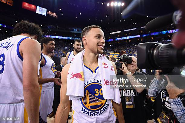 Stephen Curry of the Golden State Warriors reacts after the Warriors defeated the Memphis Grizzlies 125104 at ORACLE Arena on April 13 2016 in...