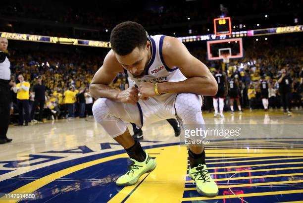 Stephen Curry of the Golden State Warriors reacts after they beat the Houston Rockets in Game Five of the Western Conference Semifinals of the 2019...