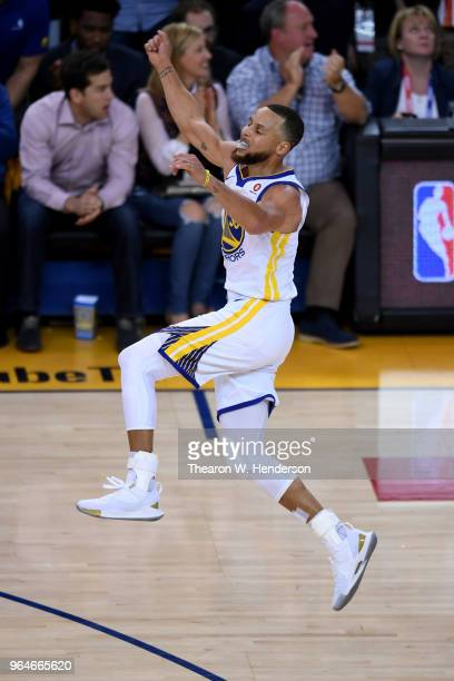 Stephen Curry of the Golden State Warriors reacts against the Cleveland Cavaliers in Game 1 of the 2018 NBA Finals at ORACLE Arena on May 31 2018 in...