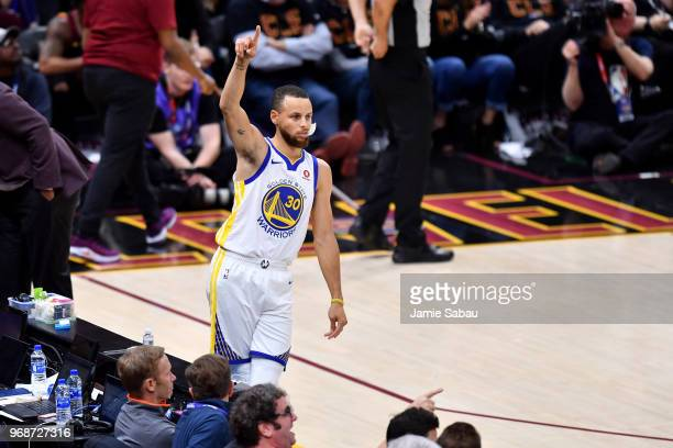 Stephen Curry of the Golden State Warriors reacts against the Cleveland Cavaliers in the fourth quarter during Game Three of the 2018 NBA Finals at...