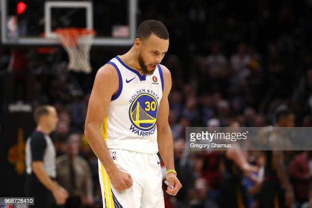 Stephen Curry of the Golden State Warriors reacts against the Cleveland Cavaliers in the second half during Game Three of the 2018 NBA Finals at...