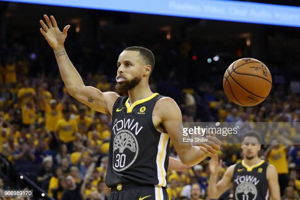 Stephen Curry of the Golden State Warriors reacts against the Cleveland Cavaliers during the third quarter in Game 2 of the 2018 NBA Finals at ORACLE...