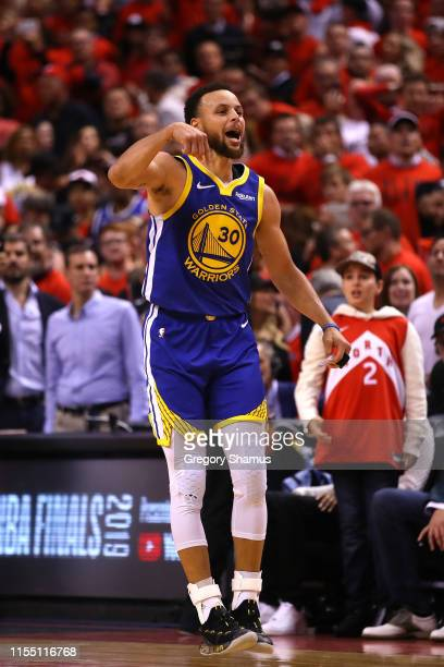 Stephen Curry of the Golden State Warriors reacts against the Toronto Raptors in the second half during Game Five of the 2019 NBA Finals at...