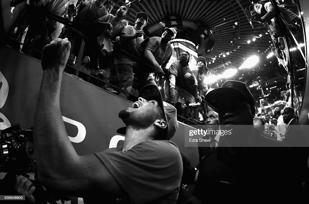 Stephen Curry #30 of the Golden State Warriors reacts as he leaves the court after they beat the Oklahoma City Thunder in Game Seven of the Western Conference Finals during the 2016 NBA Playoffs at ORACLE Arena on May 30, 2016 in Oakland, California.