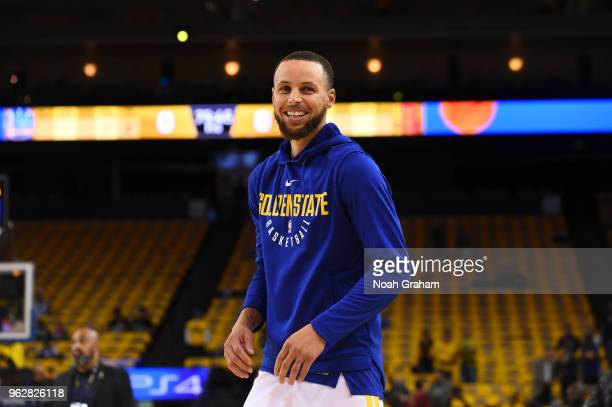 Stephen Curry of the Golden State Warriors reacts before game against the Houston Rockets before Game Six of the Western Conference Finals during the...