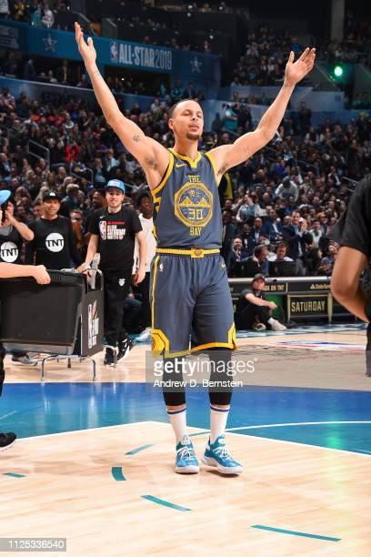 Stephen Curry of the Golden State Warriors reacts during the 2019 Mtn Dew 3Point Contest as part of the State Farm AllStar Saturday Night on February...