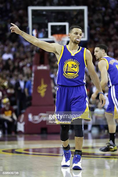 Stephen Curry of the Golden State Warriors reacts during the first half against the Cleveland Cavaliers in Game 3 of the 2016 NBA Finals at Quicken...