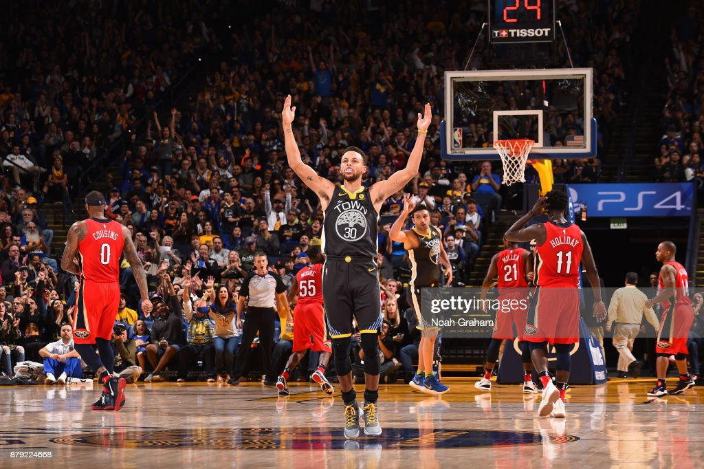 Stephen Curry #30 of the Golden State Warriors reacts during the game against the New Orleans Pelicans on November 25, 2017 at ORACLE Arena in Oakland, California.