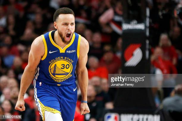Stephen Curry of the Golden State Warriors reacts during the second half against the Portland Trail Blazers in game three of the NBA Western...