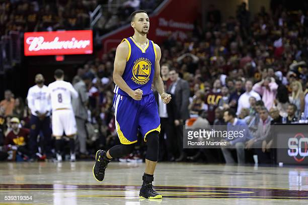 Stephen Curry of the Golden State Warriors reacts during the second half against the Cleveland Cavaliers in Game 4 of the 2016 NBA Finals at Quicken...