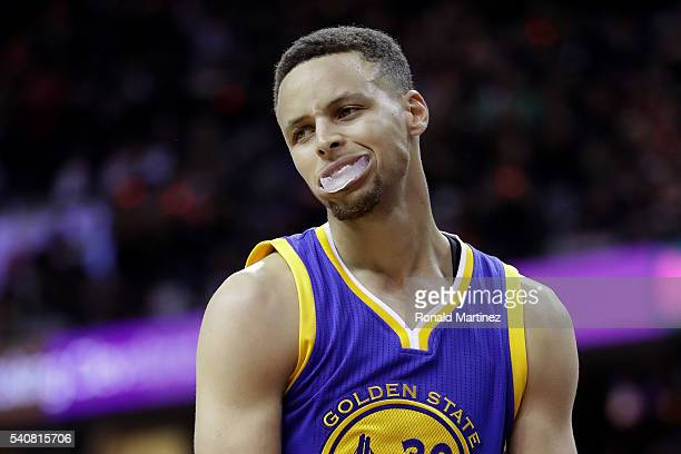 Stephen Curry of the Golden State Warriors reacts during the second half against the Cleveland Cavaliers in Game 6 of the 2016 NBA Finals at Quicken...