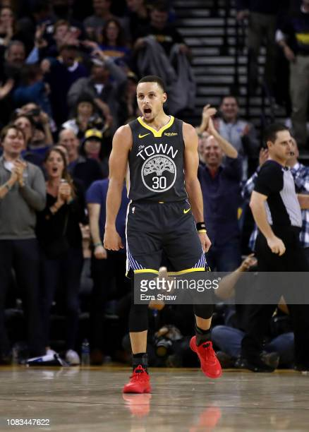 Stephen Curry of the Golden State Warriors reacts during their game against the New Orleans Pelicans at ORACLE Arena on January 16 2019 in Oakland...