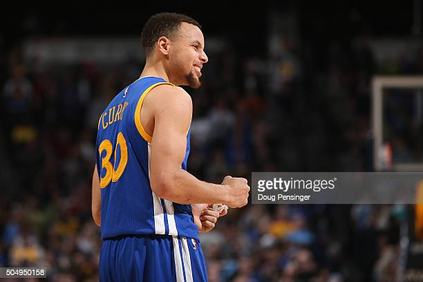 Stephen Curry of the Golden State Warriors reacts in the final seconds of the game against the Denver Nuggets at Pepsi Center on January 13 2016 in...