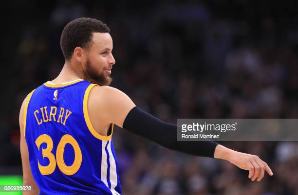 Stephen Curry of the Golden State Warriors reacts in the first half against the San Antonio Spurs during Game Four of the 2017 NBA Western Conference...