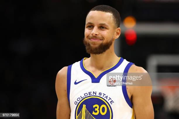 Stephen Curry of the Golden State Warriors reacts in the second half against the Cleveland Cavaliers during Game Four of the 2018 NBA Finals at...
