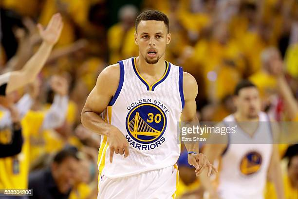 Stephen Curry of the Golden State Warriors reacts in the second quarter of Game 2 of the 2016 NBA Finals against the Cleveland Cavaliers at ORACLE...