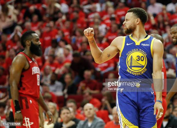 Stephen Curry of the Golden State Warriors reacts in the second quarter during Game Three of the Second Round of the 2019 NBA Western Conference...