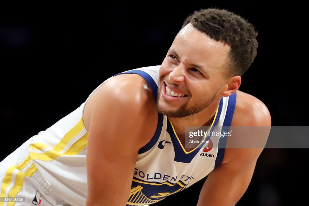 Stephen Curry #30 of the Golden State Warriors reacts in the second quarter against the Brooklyn Nets during their game at Barclays Center on November 19, 2017 in the Brooklyn borough of New York City.