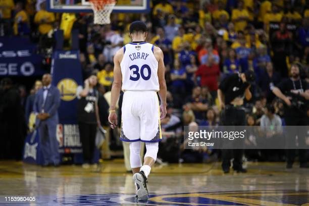 Stephen Curry of the Golden State Warriors reacts late in the game against the Toronto Raptors during Game Three of the 2019 NBA Finals at ORACLE...