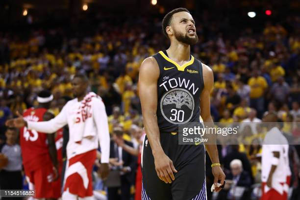 Stephen Curry of the Golden State Warriors reacts late in the game against the Toronto Raptors in the second half during Game Four of the 2019 NBA...