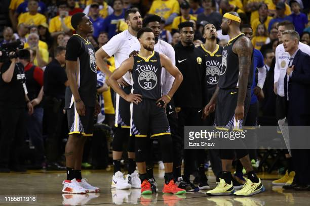 Stephen Curry of the Golden State Warriors reacts late in the game against the Toronto Raptors during Game Six of the 2019 NBA Finals at ORACLE Arena...