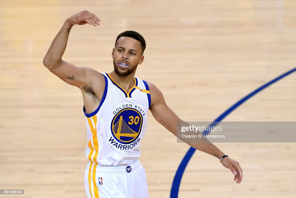 Stephen Curry #30 of the Golden State Warriors reacts to a play against the Cleveland Cavaliers in Game 1 of the 2017 NBA Finals at ORACLE Arena on June 1, 2017 in Oakland, California.
