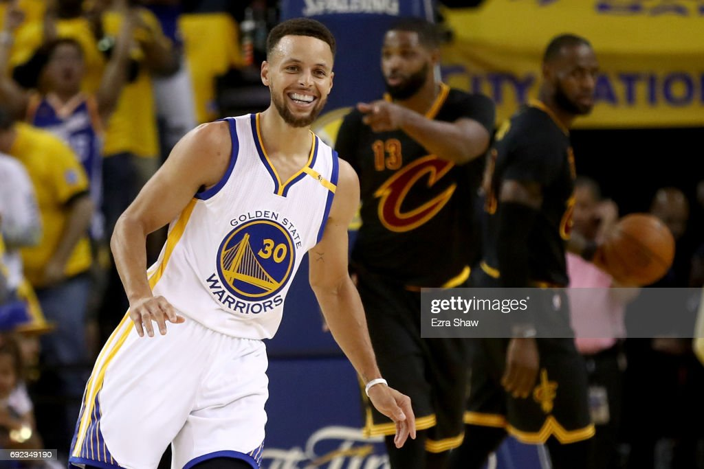Stephen Curry #30 of the Golden State Warriors reacts to a play against the Cleveland Cavaliers in Game 2 of the 2017 NBA Finals at ORACLE Arena on June 4, 2017 in Oakland, California.