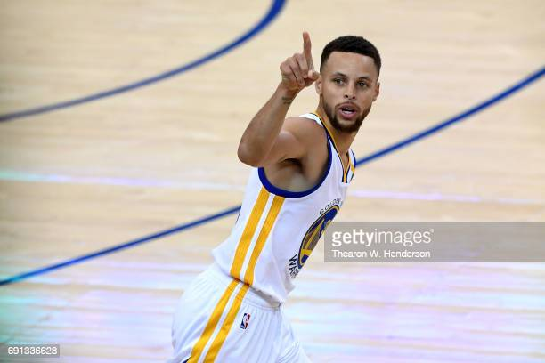 Stephen Curry of the Golden State Warriors reacts to a play in Game 1 of the 2017 NBA Finals against the Cleveland Cavaliers at ORACLE Arena on June...