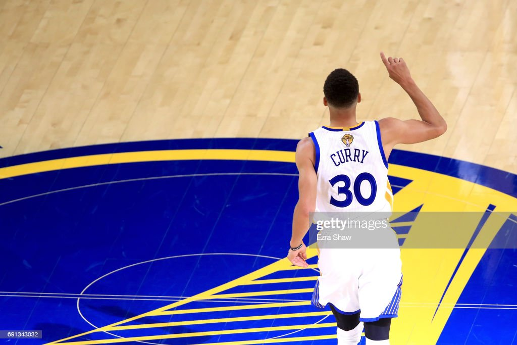 Stephen Curry #30 of the Golden State Warriors reacts to a play in Game 1 of the 2017 NBA Finals against the Cleveland Cavaliers at ORACLE Arena on June 1, 2017 in Oakland, California.
