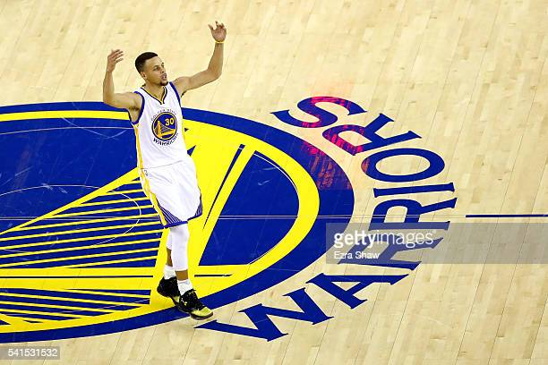 Stephen Curry of the Golden State Warriors reacts to a play in Game 7 of the 2016 NBA Finals against the Cleveland Cavaliers at ORACLE Arena on June...