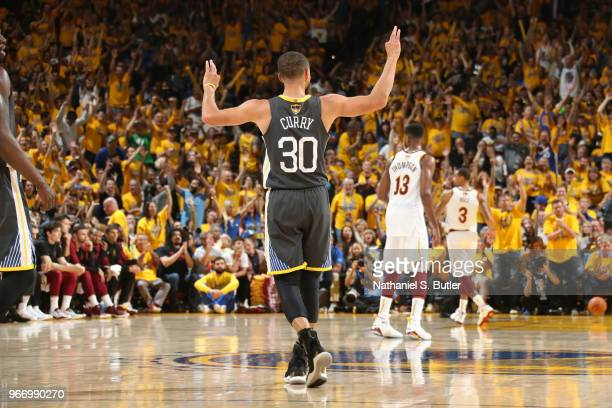 Stephen Curry of the Golden State Warriors reacts to a play in Game Two of the 2018 NBA Finals against the Cleveland Cavaliers on June 3 2018 at...