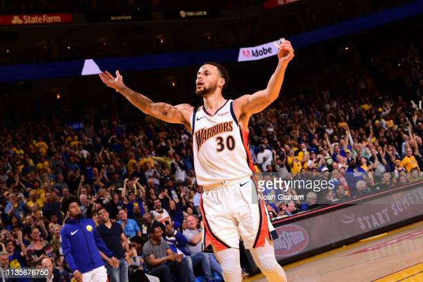Stephen Curry of the Golden State Warriors reacts to the crowd during the game against the LA Clippers on April 7 2019 at ORACLE Arena in Oakland...