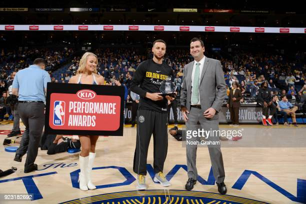 Stephen Curry of the Golden State Warriors receives the Kia Player of the Month award before the game against the LA Clippers on February 22 2018 at...