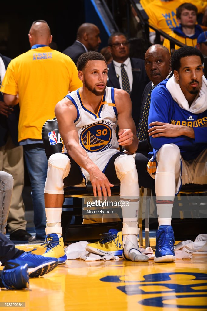 Stephen Curry #30 of the Golden State Warriors re-tapes his ankle during Game One of the Western Conference Semifinals against the Utah Jazz during the 2017 NBA Playoffs on May 2, 2017 at ORACLE Arena in Oakland, California.