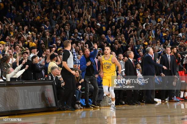 Stephen Curry of the Golden State Warriors seen on court during the game against the Houston Rockets on January 3 2019 at ORACLE Arena in Oakland...