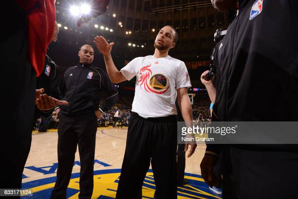 Stephen Curry of the Golden State Warriors shakes hands before the game against the Los Angeles Clippers on January 28 2017 at ORACLE Arena in...