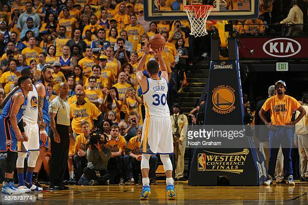 Stephen Curry of the Golden State Warriors shoots a foul shot in Game Five of the Western Conference Finals against the Oklahoma City Thunder during...