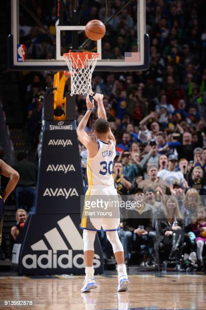 Stephen Curry of the Golden State Warriors shoots a free throw against the Denver Nuggets on February 3 2018 at the Pepsi Center in Denver Colorado...